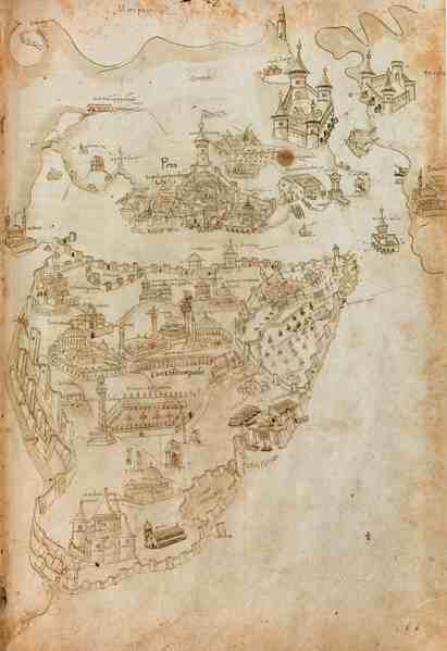 Liber insularum Archipelagi'nin 1485-1490 yılları arasına tarihlenen Düsseldorf Üniversite ve Eyalet Kütüphanesi'ndeki kopyasında yer alan harita