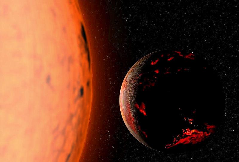 Yaklaşık 7 milyar yıl sonra, Güneş'in kırmızı dev evresine girmesinden itibaren, yanan Dünya'nın konjekte edilmiş illüstrasyonu