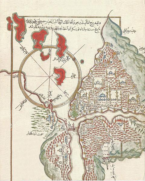 Pîrî Reis'in Kitâb-ı Bahriye adlı eserinin 1629 tarihli nüshasında yer alan Mustafa bin Mehmed Cündî'ye ait minyatürün alt kısmında Galata ve Galata kulesi yer alır.