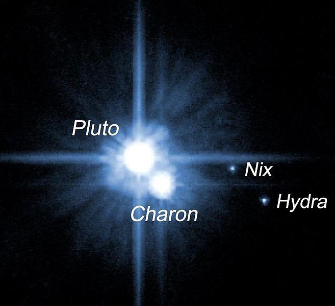 Plüton ve bilinen üç doğal uydusu