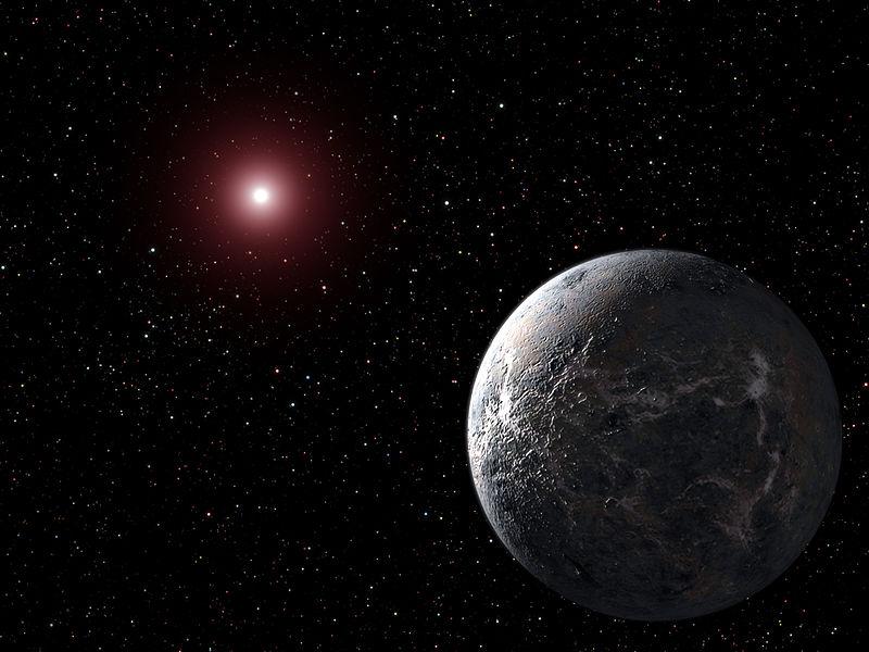 Bir sanatçının gözüyle OGLE-2005-BLG-390Lb gezegeni.