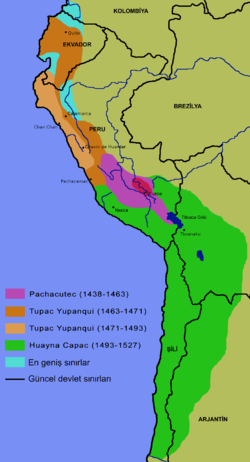 İnka İmparatorluğu'nun genişleme haritası