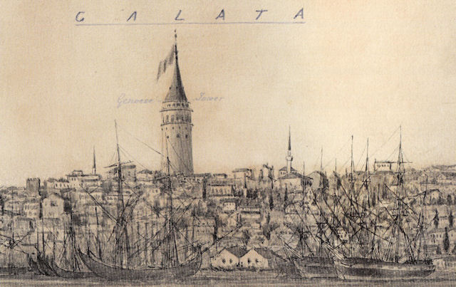 Kırım Savaşı (1853-1856) sırasında şehre gelen Montague B. Dunn'ın 1855 civarındaki çiziminde yer alan Galata Kulesi ile çevresi