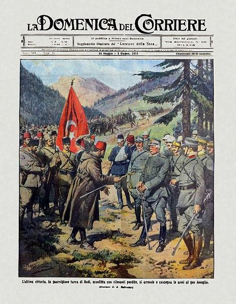 16 Mayıs 1912: Rodos'ta Osmanlı garnizonunun İtalyan general Ameglio'ya teslim oluşu